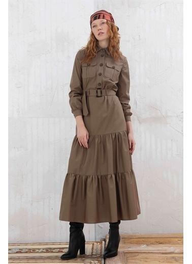 Vivencia Önden Düğmeli Fırfır Detaylı Poplin Kadın Elbise İndigo Haki